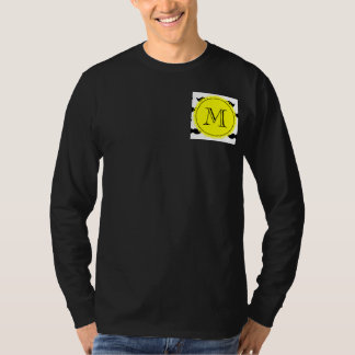 Black Mustache Pattern, Yellow Monogram T-Shirt