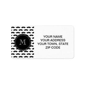 Black Mustache Pattern, Your Monogram Address Label