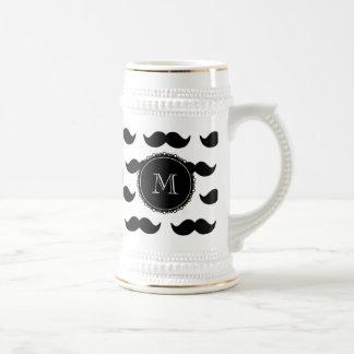 Black Mustache Pattern, Your Monogram Beer Stein