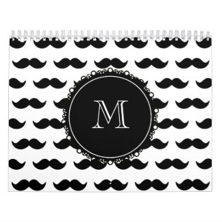 Black Mustache Pattern, Your Monogram Calendar