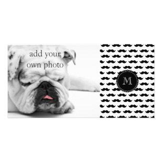 Black Mustache Pattern, Your Monogram Card