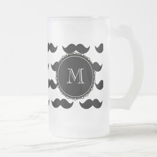 Black Mustache Pattern, Your Monogram Frosted Glass Beer Mug