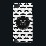 "Black Mustache Pattern, Your Monogram iPod Touch (5th Generation) Cover<br><div class=""desc"">Fun, hipster, girly design with a cute black mustache pattern, on a white background with a black circular label or tag and a white monogram in a modern font, you can change to your initial, your letter or your text. Graphics By Mimi&#169; Other colors available. A fun gift for her...</div>"