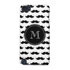 Black Mustache Pattern, Your Monogram Ipod Touch (5th Generation) Cover at Zazzle