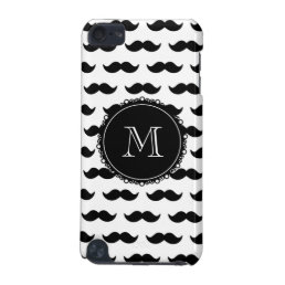 Black Mustache Pattern, Your Monogram iPod Touch (5th Generation) Cover