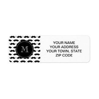 Black Mustache Pattern, Your Monogram Label