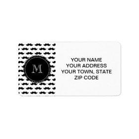 Black Mustache Pattern, Your Monogram Custom Address Label