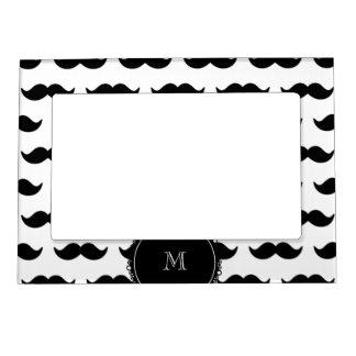 Black Mustache Pattern, Your Monogram Photo Frame Magnet