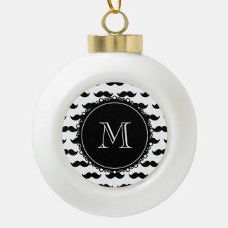 Black Mustache Pattern, Your Monogram Ceramic Ball Christmas Ornament