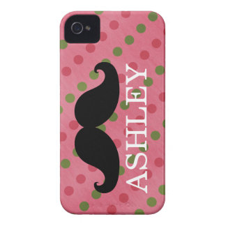 Black Mustache Pink Green Polka Dots Name Case-Mate iPhone 4 Case