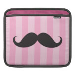 Black mustache pink stripes funny iPad sleeve