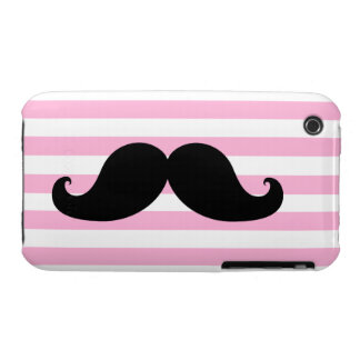 Black Mustache Pink Stripes iPhone 3 Covers