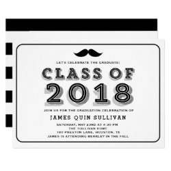 Black Mustache Retro Graduation Party Invitation