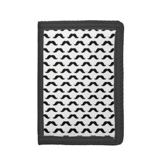 Black Mustache Small Mustaches Design White Tri-fold Wallet