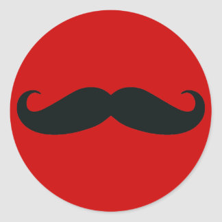Black Mustache with Red Background Classic Round Sticker