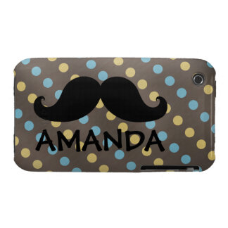Black Mustache Yellow Blue Polka Dots Name Case-Mate iPhone 3 Case