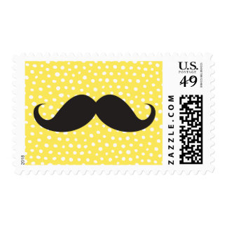 Black mustache yellow polka dot dots pattern funny postage