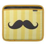 Black mustache yellow stripes funny iPad sleeve