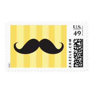 Black mustache yellow stripes funny postage stamp
