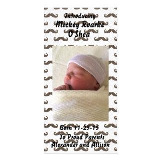 Black Mustaches Baby Announcement 8x4