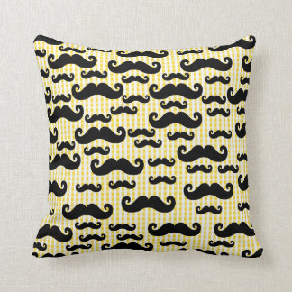 Black Mustaches on Yellow Checkered Background Throw Pillow