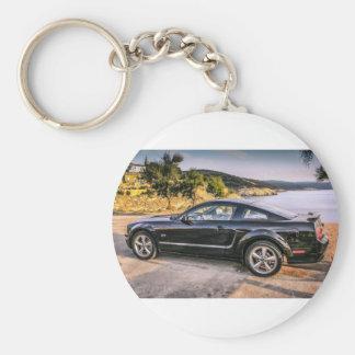 Black Mustang GT Basic Round Button Keychain