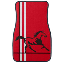 Black Mustang Horse on Red w/White,Black Stripes Car Floor Mat