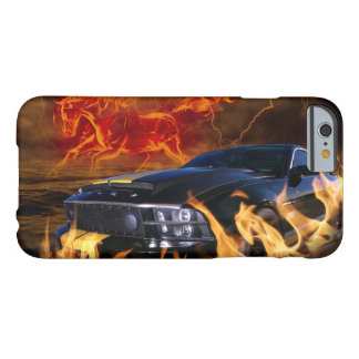 Black mustang racing through the fire storm barely there iPhone 6 case