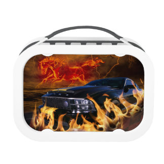 Black mustang racing through the fire storm lunch box