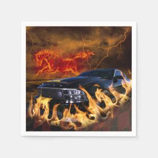 Black mustang racing through the fire storm napkin