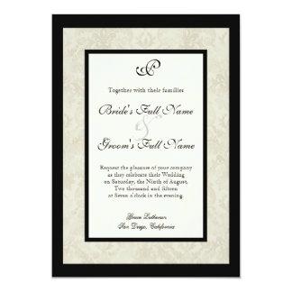 Black n Cream Fleur de Lis Damask Wedding Custom Announcement