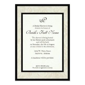 Black n Cream Fleur de Lis Damask Wedding Announcement