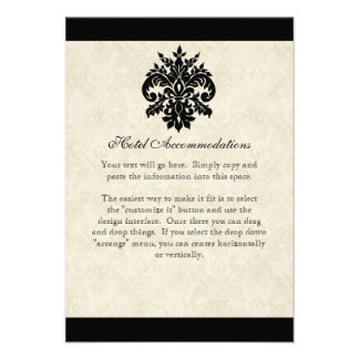 Black n Cream Fleur de Lis Damask Wedding Invitation