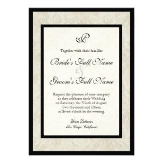 Black n Cream Fleur de Lis Damask Wedding Custom Invite