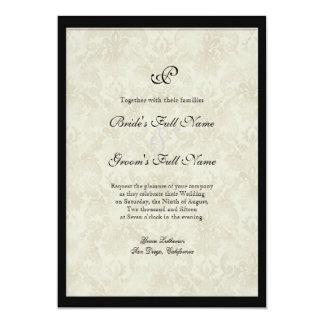 Black n Cream Fleur de Lis Damask Wedding Personalized Invitation