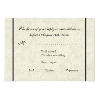 Black n Cream Fleur de Lis Damask Wedding Custom Invites
