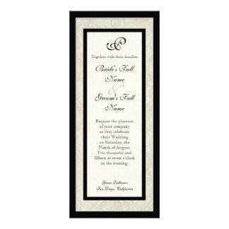 Black n Cream Fleur de Lis Damask Wedding Invites