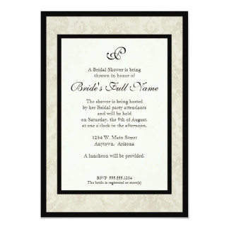 Black n Cream Red Tulip Damask - Bridal Shower Card