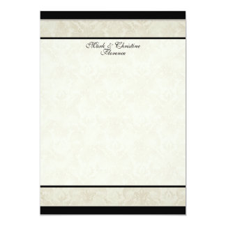Black n Cream Red Tulip Damask Thank You Notes Card