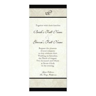 Black n Cream Red Tulip Damask Wedding Card