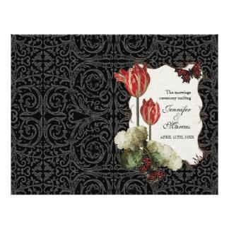 Black n Cream Red Tulip Damask - Wedding Program