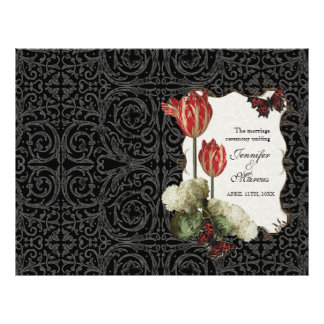 Black n Cream Red Tulip Damask - Wedding Program Personalized Flyer