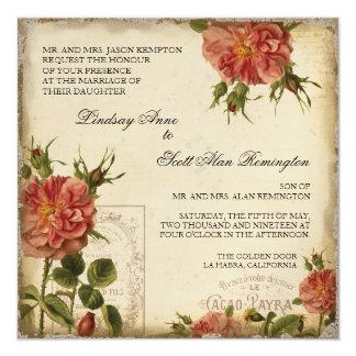Black n Cream Vintage Eiffel Tower Rose Wedding Card