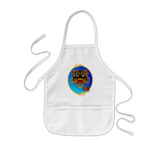 Black n Gold Chinese Dragon Face and Symbol Aprons