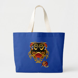 Black n Gold Chinese Dragon Face and Symbol Bags