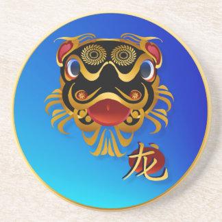 Black n Gold Chinese Dragon Face and Symbol Coaste Coaster