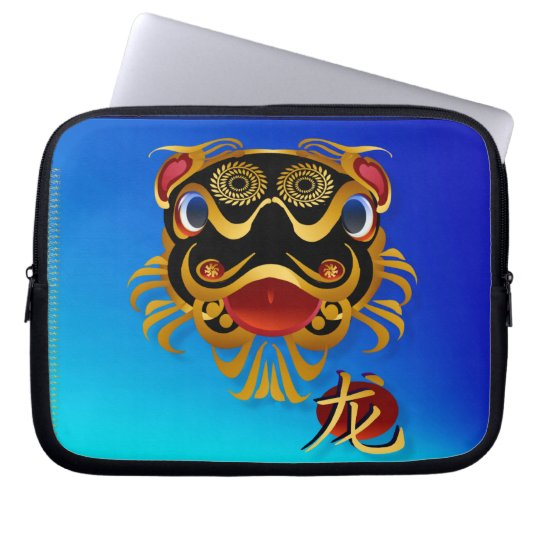 Black n Gold Chinese Dragon Face and Symbol Computer Sleeve