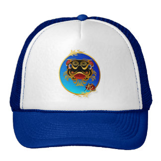 Black n Gold Chinese Dragon Face and Symbol Oval H Trucker Hat