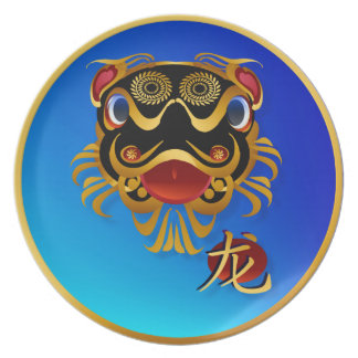 Black n Gold Chinese Dragon Face and Symbol Plates