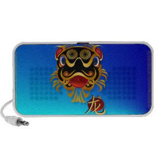Black n Gold Chinese Dragon Face and Symbol Speake Laptop Speaker